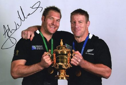 Ali Williams, New Zealand All Blacks, signed 12x8 inch photo.